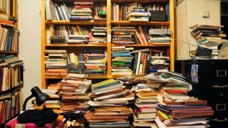 Stacks of books on table