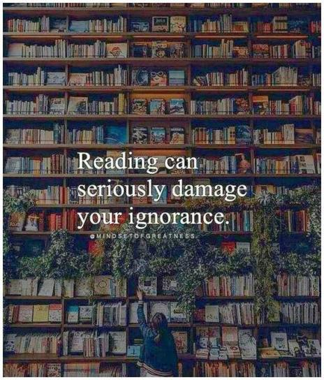 Graphic of reading will cure ignorance