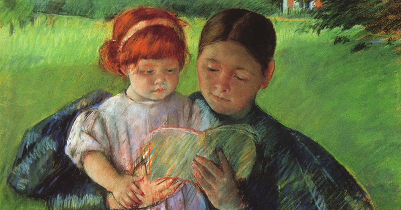 Mother Reading to Child by Mary-Cassatt